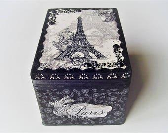 Paris themed jewelry box,fabric design,  recycled box, black and white, bracelet  box, dresser decor, bathroom storage, beaded