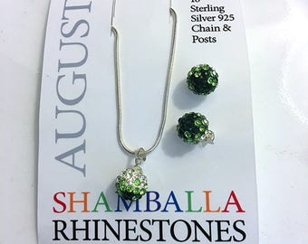 August Birthstone 925 Sterling Silver Green Peridot Shamballa Rhinestone Necklace and Earrings Set