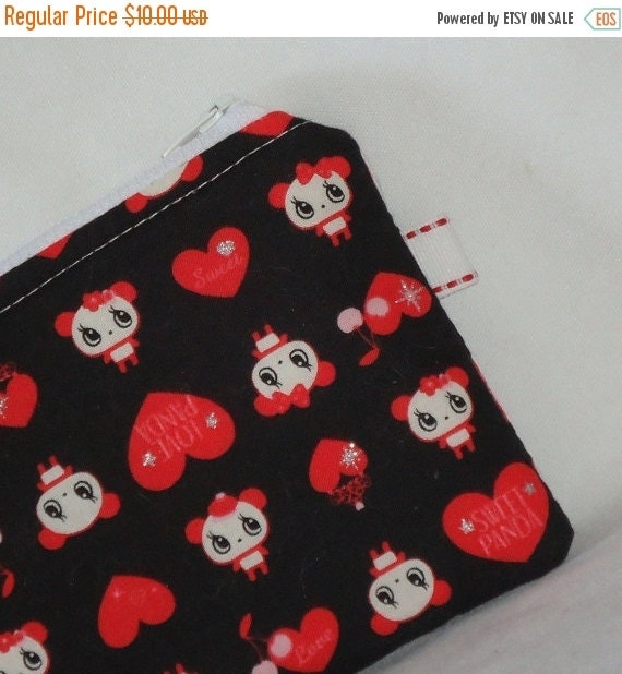 SALE SALE SALE - 20% Off Sweet Love Panda Padded Zippered Pouch -- Red on Black