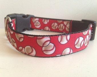 Red Baseball Large 1 inch Dog Collar