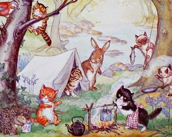 Vintage Postcard, Molly Brett, Medici Society, Kittens Camp, Dressed Animals, Paper Collectibles, Little Cats, Little Bunnies, Woodland Art