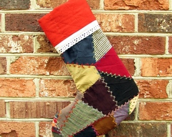 Christmas Stocking - Vintage Crazy Quilt Stocking - Patchwork Stocking - Red Christmas Stocking - Vintage Quilt - Vintage Stocking