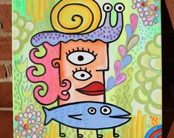 The Snail Garden Queen 12x12 Original Surreal Art Painting by Jelene