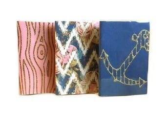 SALE - passport bundle - Blush and blue mix - set of 3 passport holders - faux bois, nautical anchor, floral chevron