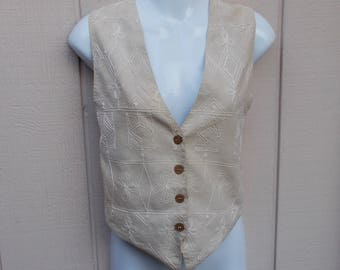 Vintage 90s CLIO Beige Embroidered India Cotton Vest / Waistcoat top // Size Med