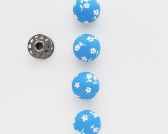 22mm Blue and White Buttons | Four 7/8 inch shank back sewing buttons to use for hair ties, embellishments, packaging.