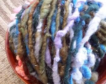 The Hint Of Spring: super soft wools, alpaca, sparkle Rockstar Handspun - greens/lavender/pink/gold, corespun, 64 super-bulky yds