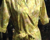 Vintage Olivine Print Wrap Dress Housecoat