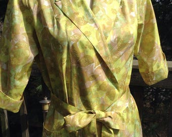 Vintage Olivine Print Wrap Dress Housecoat