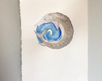 Original Watercolor - Full Sturgeon Moon
