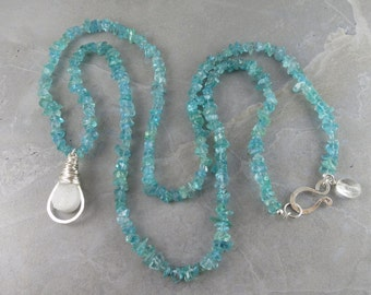 Apatite And Druzy Long Layering Necklace