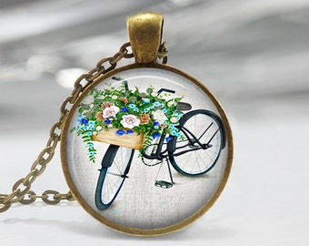 Watercolor Bicycle Pendant, Bicycle Art Pendant, Bicycle Necklace, Watercolor Art Jewelry, Bronze, Silver, Watercolor Bicycle Art  094