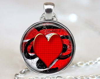 Heart Art Pendant, Red Heart Pendant, Valentines Pendant, Red Heart Necklace, Red Heart Key Ring, Bronze, Silver, Valentine's Day Gift 1325