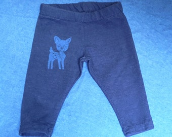 Organic Baby Leggings with Deer Print - Hand made, dyed, and Printed with original art