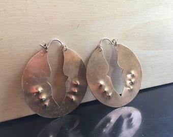 Arthropod Earrings - Lightweight Brass Handforged Hoop Earrings - Ready to ship
