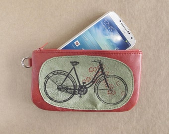 Bicycle Phone or Pencil Case Brick Red Leather Recycled