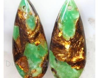 Gold Copper Bornite Stone Teardrop Pendant Bead Set.  green semiprecious stone beads, green beads, peacock copper,peacock ore