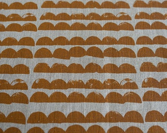 Fabric panel - Mountains in ochre brown ink on hemp-organic cotton basecloth. Textiles designed and screen printed in Melbourne.
