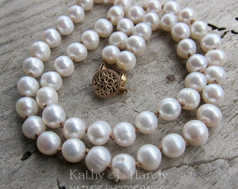 Simple Pearl Necklace || 17 Inch Freshwater Pearl Hand-Knotted Necklace | Sweet 16 | Wedding Jewelry | Bride | Bridesmaid | Pearls Under 40
