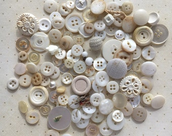 Vintage Buttons: Variations on White