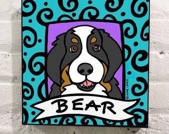 Personalized Bernese Mountain Dog Portrait : FREE SHIPPING