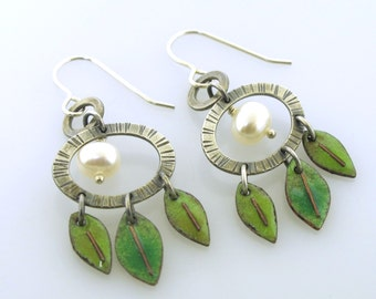 Leaves and Pearls, dangle earrings, enameled earrings with sterling silver and white pearls by Kathryn Riechert