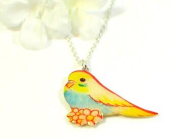 Bird Necklace Tweetie  - Canary Pendant - Bird Jewelry - Blue and Yellow Parakeet Jewelry - Budgie Necklace - Parakeet Pendant