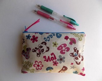 Japanese Cute Panda Fabric - Pencil Case Fabric Make up Bag Padded Pouch