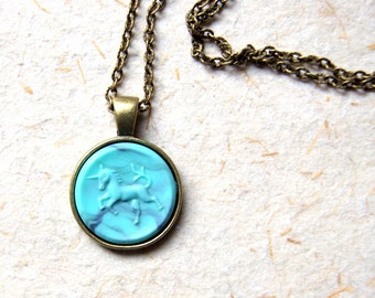Unicorn Necklace - Vintage turquoise unicorn pendant necklace -