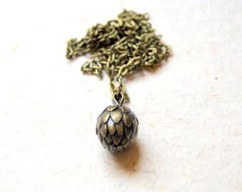 Artichoke Necklace - Antiqued Brass Artichoke Necklace - garden inspired - botanical jewelry