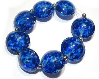 Small Blues Lentils, SRA Handmade Glass Lampwork Beads