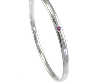 Sterling Silver Bangle with a Sapphire, Ruby or Diamond Accent