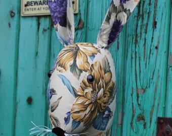 Fabric Trophy head. wall hanging. Fake Taxidermy, stuffed head, Faux Taxidermy. Rabbit, hare head.