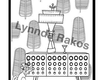Printable Coloring Page Midcentury Credenza and Cool Cat an Adult Coloring Sheet