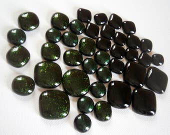 Fused Glass Cabochons, Oops Orphans Lot of 40 Black and Green Glass Cabochons, Glass Cabs, Clearance Sale, Willow Glass