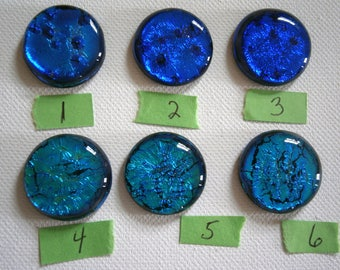 Dichroic Fused Glass Cabochons, Choice Blue or Turquoise Dichroic Glass Cabs, 1 inch, Willow Glass