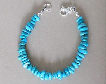 "Sleeping Beauty Turquoise Bracelet - Turquoise Chips From The Sleeping Beauty Mine - 8"" Bracelet - Sterling Silver Figure 8 Clasp"