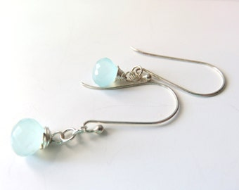Long Pale Blue Chalcedony Drop Earrings,  Dainty Chalcedony and Sterling Silver, Wire Wrapped Dangle Earrings, Blue and Silver, Mothers Day