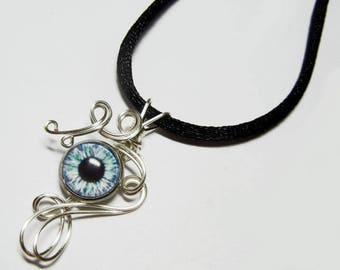 Wire Wrap Blue Zombie Eye Pendant with Necklace