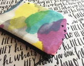 Watercolor print zipper pouch , change purse , coral coin purse , small makeup bag