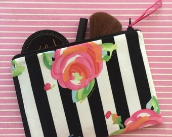 SALE - Stripe and Floral - Modern clutch, makeup bag, clutch, large cosmetics bag, purse organizer, make up bag