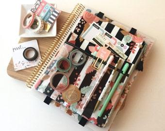 Floral stripe -  planner accessories pouch - floral planner band - stripe planner pouch - Floral Planner Bag - Stripe Planner Bag