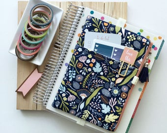 Happy Planner Cover - Life Planner Cover - Daily planner pouch - Weekly planner - pen holder - Journal Cover - purse organizer - blue