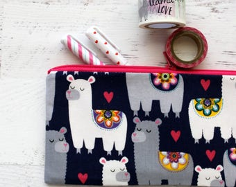 llama pencil pouch - llama pencil bag - llama planner accessories - llama bujo accessories - blue pencil case - llama school bag - pouch