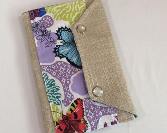 Ready to Ship Passport Cover Case- Mini In Touch Clutch for Moleskine Journals and Passports- Gorgeous floral and butterfly