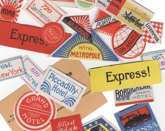 ANTIQUE LUGGAGE LABELS 1910s Vintage Tiny Worldwide Luggage Tag Gummed Stickers Sold Individually