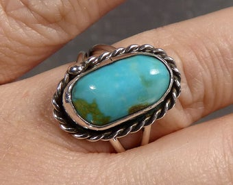 Big Vintage Navajo Turquoise Ring Sterling Silver Native American Indian southwestern size 8