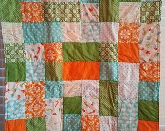 Moving Sale Summer Baby Buggy Baby Quilt - auqua blue, lime green, orange, white 304
