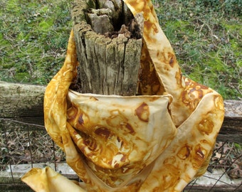 """Large Rust Dyed 100% Silk Scarf 14""""x72"""""""