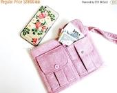 ON SALE Fabric Wristlet Wallet, Wool Purse Wallet for Women, Pink Wristlet Purse, Large Wristlet, Womens Wallet Purse, Wrist Wallet